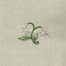 Sprig Grey/White Hand-embroidered