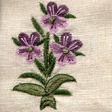Provencal Flower Mauve/Green Hand-embroidered Fabric