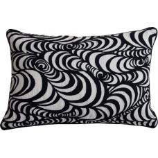 Embroidered Swirl Cushion_Black