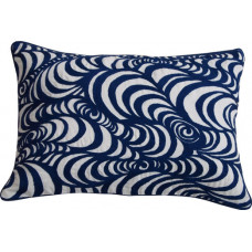Embroidered Swirl Cushion_Navy