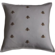 Hand Embroidered Gold Bees_Cream
