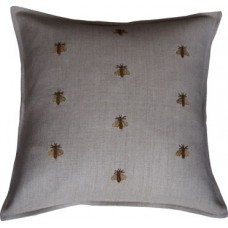 Hand Embroidered Gold Bees_Flax