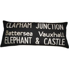 Clapham Junction embroidered cushion