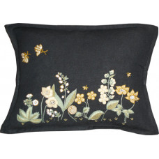 Hand-embroidered Flora Garden Blk/Honey
