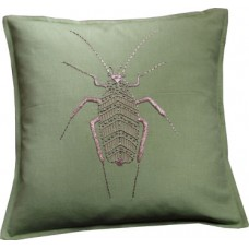 Hand embroidered metallic gold bug_green