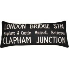 London Bridge STN, London Bus Destinations embroidered cushion