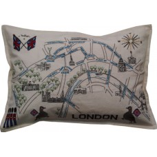 London River Map, Embroidered Vintage Style Cushion
