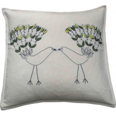 LOVE BIRDS Hand-embroidered Green/Cream