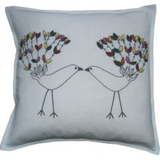 Hand-embroidered Love Birds Multi/White