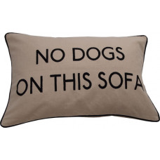 No Dogs On This Sofa Embroidered Cushion - Cream