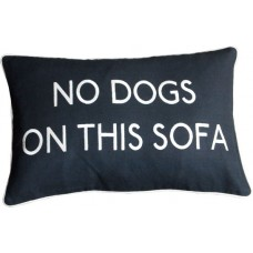 No Dogs On This Sofa Embroidered Cushion _Black