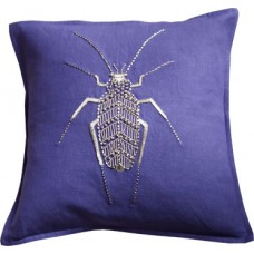 Purple/Gold Beetle Hand Embroidered