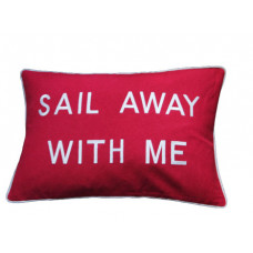 Sail Away With Me - Red Embroidered Cushion