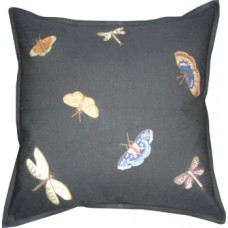 Hand-embroidered Butterflies, Dragonflies & Moths/Black
