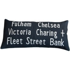 Fulham Chelsea Bus Destination Embroidered Cushion