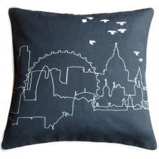 London Embroidered Skyline Cushion black
