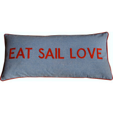 EAT SAIL LOVE Hand Embroidered Denim Cushion