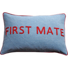 FIRST MATE Hand Embroidered Denim Cushion