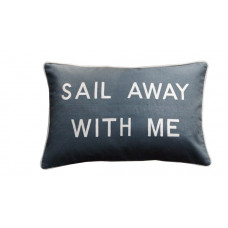 Sail Away With Me Embroidered Cushion - Grey
