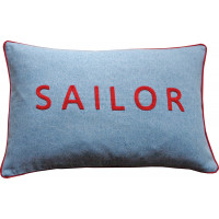 SAILOR Hand Embroidered Denim Cushion
