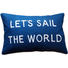 Let's Sail The World, Embroidered Cushion, Blue