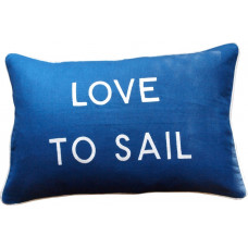 Love To Sail, Embroidered Cushion, Blue