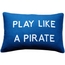 Play Like A Pirate, Embroidered Cushion, Blue