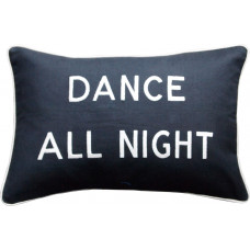 Dance All Night, Embroidered Cushion, Black