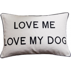 Love Me Love My Dog Embroidered Cushion _Cream