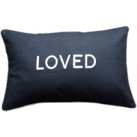 Loved, Embroidered Cushion, Black