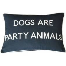 Dogs Are Party Animals Embroidered Cushion