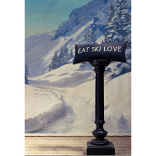 Eat Ski Love Embroidered Wool Mix Cushion