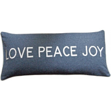 Love Peace Joy Embroidered Wool Cushion