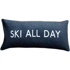 Ski All Day Embroidered Felted Wool Cushion