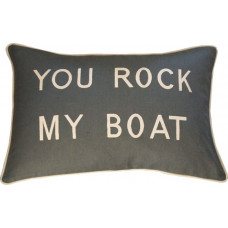 You Rock My Boat Embroidered Cushion - Grey